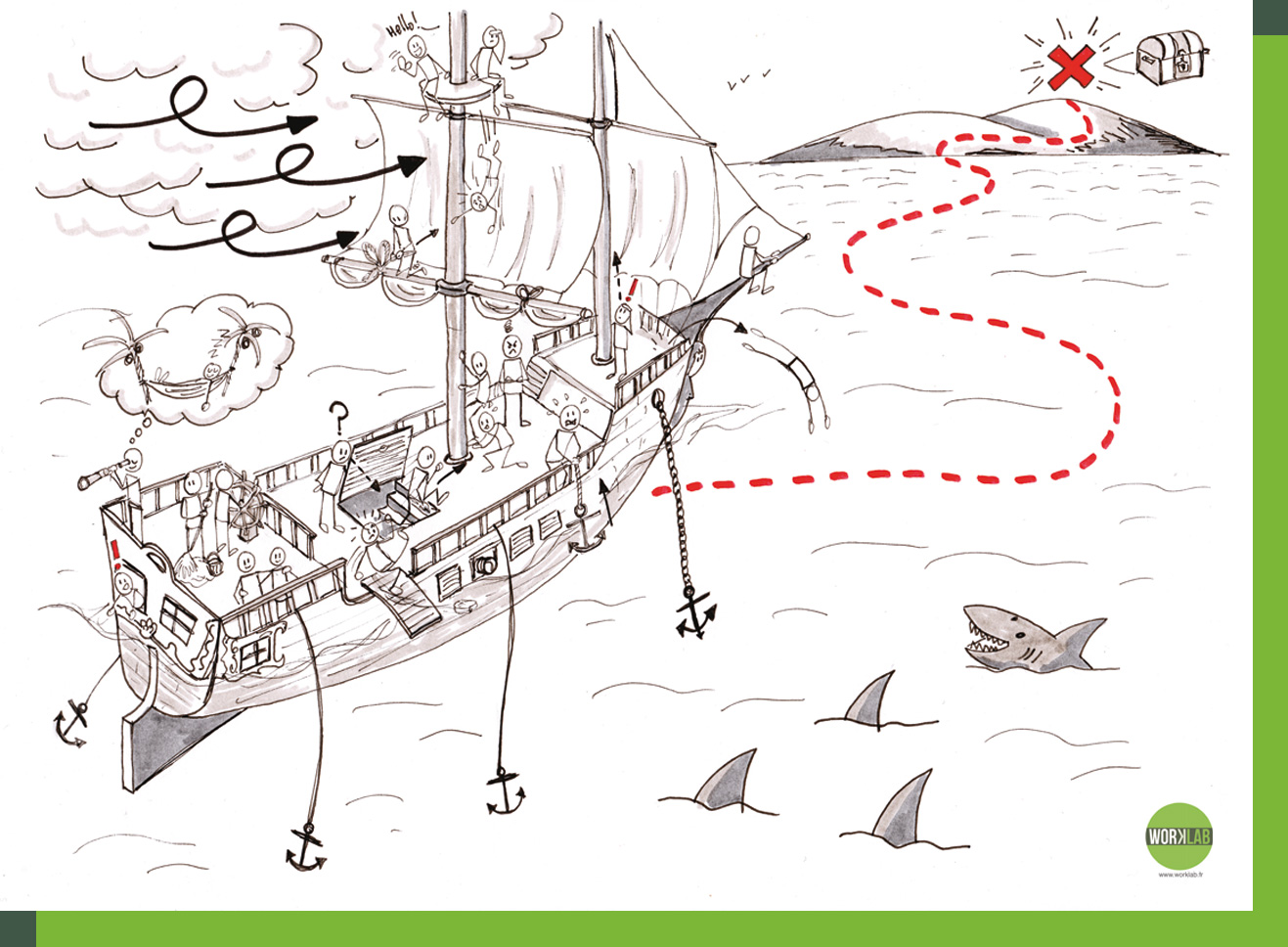 illustration bateau pirate - avant - worklab